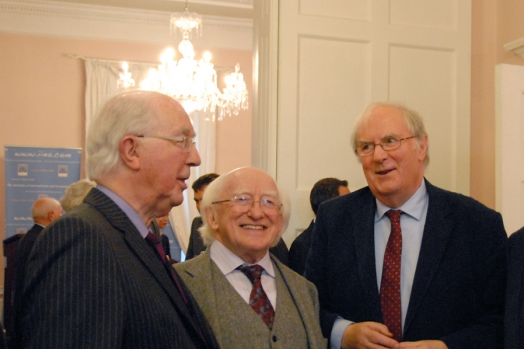 Chairman Brendan Halligan, President Higgins and Senior Fellow, Tony Brown.