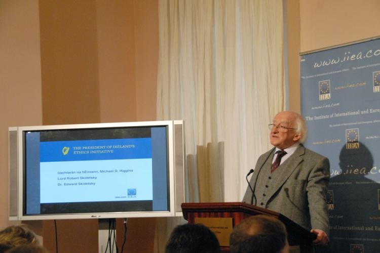 The President of Ireland, Michael D Higgins, addressing Institute members.