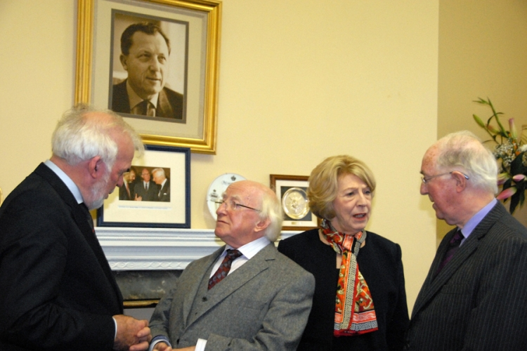 Director General, Tom Arnold; President of Ireland, Michael D Higgins, First Lady Sabina Higgins, and the Chairman, Brendan Halligan, in conversation.