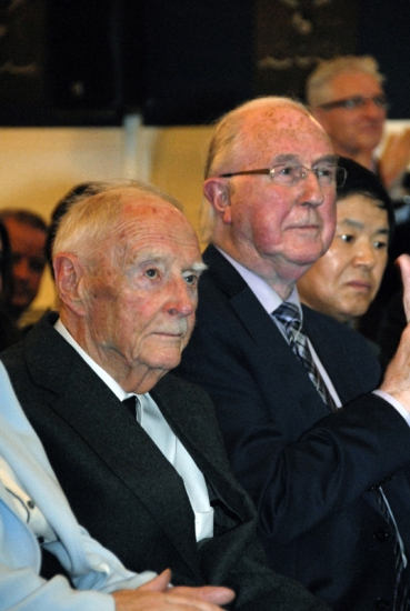 9. Former Taoiseach of Ireland, Liam Cosgrave, and Brendan Halligan, Chairman of the IIEA in the audience at the lecture, 'The UN at 70:  Looking back, Looking Forward'
