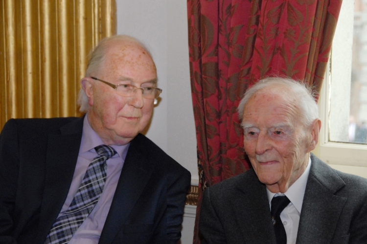 17. Chairman of the IIEA and former Secretary of the Irish Labour Party Brendan Halligan, with Ireland's former Taoiseach Liam Cosgrave at Dublin Castle