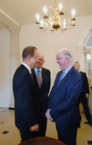 5.  Brendan Halligan, Chairman of the Institute for International and European Affairs, greets UN Secretary-General Ban Ki-moon at Dublin Castle