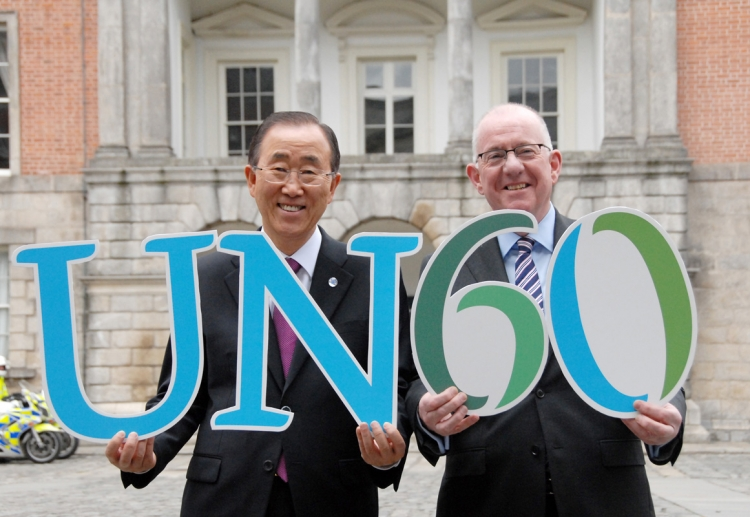 3. UN Secretary-General Ban Ki-moon and Minister Charlie Flanagan join in the spirit of celebration to toast Ireland's 60th year as a member of the United Nations
