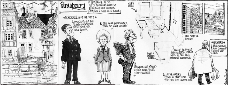 Cartoon of Brendan Halligan's European Office  by Ronnie Turner, Irish Times, 1984.
