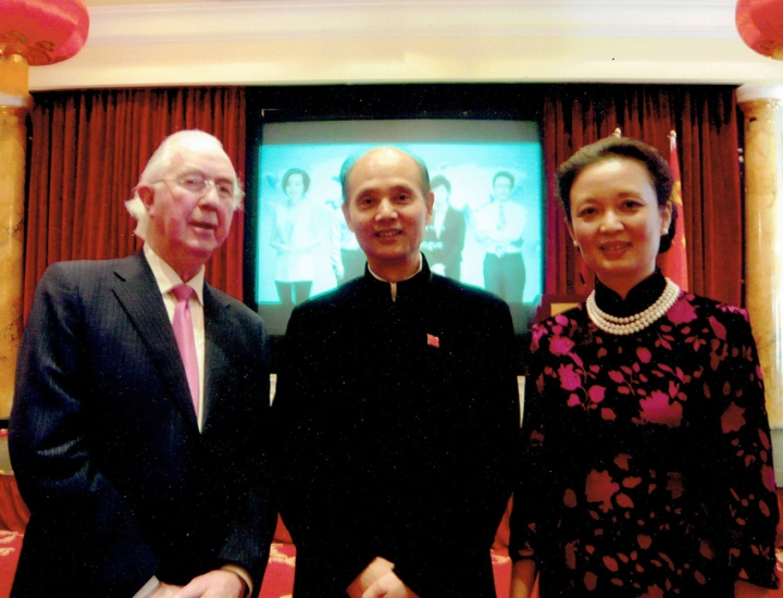 Chairman of the IIEA Brendan Halligan with former Chinese Ambassador, His Excellency Luo Linquan and his wife, in 2012 .