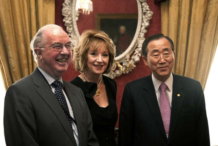 Brendan Halligan, Chairman IIEA, Jill Donoghue, IIEA VP for Research and Global Affairs, and Ban Ki-Moon during the visit by the UN Secretary General in July 2009