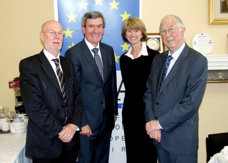 Daithí O'Ceallaigh, former Director General of the IIEA, Padraig McManus, Chief Executive of ESB, Kristina Johnson, former US Undersecretary for Energy and Brendan Halligan, Chairman IIEA, July 2010.