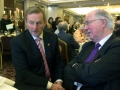 The Taoiseach of Ireland, Enda Kenny, in conversation with Brendan Halligan, Chairman of the IIEA at the Ireland-China Business Association Annual Dinner, November 2014