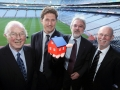 Chairman of the IIEA Brendan Halligan, Chairman of IIEA, Eamonn Ryan, Irish Minister for Energy, Professor Owen Lewis, Chief Executive of SEAI, and Daithí O'Ceallaigh, former Director General of IIEA, in Croke Park for the launch of the IIEA/SEAI Conference on Sustainable Building.
