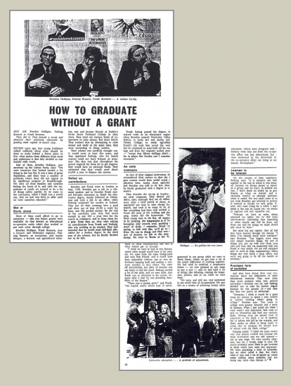 How to Graduate Without a Grant, from The Guardian, 1969