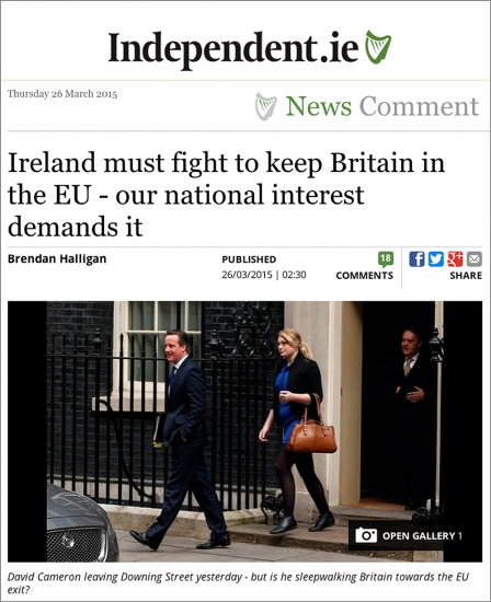 Op Ed by Brendan Halligan, Irish Independent, 26 March 2015