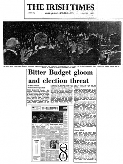 Labour Party Conference 1975, Irish Times.  Pic:  Tom Lawlor