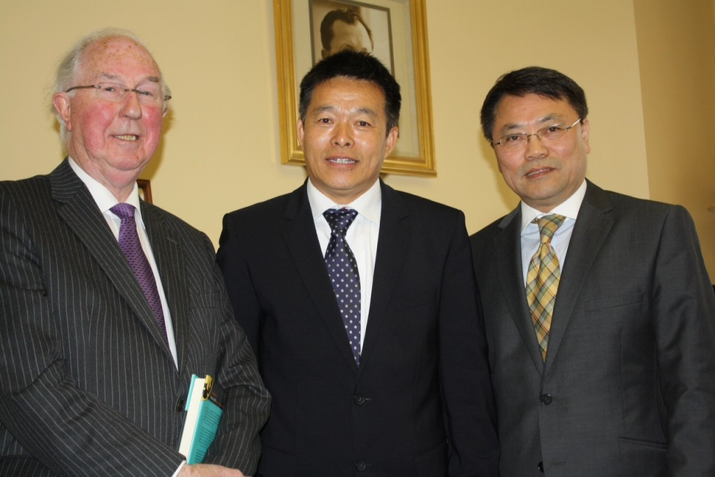 Brendan Halligan, Chairman IIEA, Professor Hu Angang, Tsinghua University, Li Ming Wang of University College Dublin