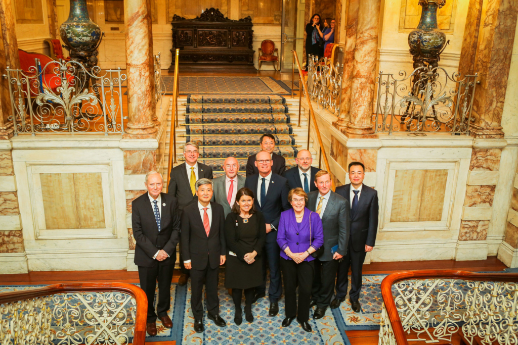 Group shot of participants on the stairs in Iveagh House